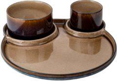 Bruine Cosy&Trendy Quintana Amber Bord 3-vak D32cm Met 2kommetjes D8xh6 - D11xh6cm (set van 6) En Yourkitchen E-kookboek - Heerlijke Smulrecepten