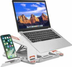 Rode ProSolve Laptop standaard verstelbaar met telefoonhouder - universeel - wit - 8 standen - 13 inch t/m 17 inch - laptop stand - laptop verhoger - voor bed en bureau
