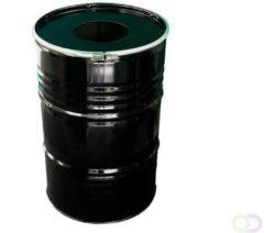 Barrelkings BinBin Hole industriële afvalbak Zwart 200 Liter olievat met gat in deksel