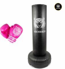 """Zwarte SET JKBOXING staande Bokspaal/Bokszak """"The Giant"""" + bokshandschoenen 8 oz roze"""