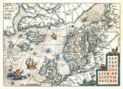 Creme witte Exclusive Edition Tapijt Kaart Septentrionalium Regionum Descrip. - Wereldkaarten