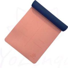 Blauwe YoZenga Premium yogamat   sportmat   Fitnessmat   extra breed   extra dik   TPE   Ohm Salmon pink/Navy blue   inclusief gratis draagriem