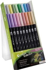 Donkergroene Alles Voor Kleuren Tombow dual brush pen abt, 18-colours-set, pastels colours