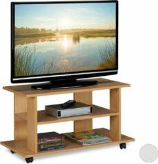 Relaxdays tv kast op wielen - tv meubel - televisietafel - verrijdbaar - tv dressoir houtlook