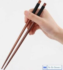 Go Go Gadget Japanse Eetstokjes - Handgemaakt - Chestnut - Chopsticks - Eetgerei - Donkerbruin/Zwart