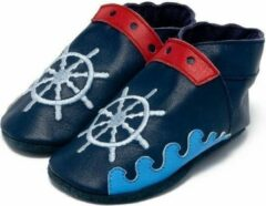 Blauwe Baby Dutch babyslofjes marine zeilbootje