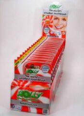 Oranje Mr. White Rolly Brush wegwerp tandenborstel. Perzik aroma. Dispenser met 15 verpakkingen met een blister van 6 borstels.
