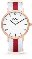 Colori Nato Phantom 5 COL492 Horloge - Nato Band - Ø 42 mm - Wit / Rood