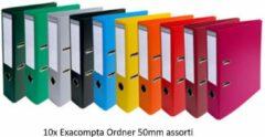 10X Ordner Exacompta Premium A4 - 50mm - assorti kleuren
