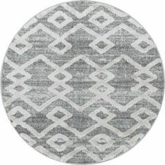 Pisa Modern Design Rond Vloerkleed Laagpolig Grijs- 120 CM ROND