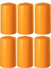Enlightening Candles 6x Oranje cilinderkaarsen/stompkaarsen 6 x 15 cm 58 branduren - Geurloze kaarsen oranje - Woondecoraties