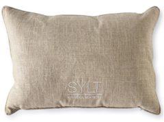 Creme witte Riviera Maison Sylt Salty Shore Pillowcover - sierkussenhoes - creme/zwart