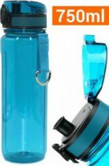 Drinkfles Herbruikbare Waterfles | 750 ml Turquoise Lichtblauw | Vaatwasserbestendig Drinkbus Bidon | King Mungo KMDF016
