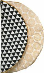 Hannahhave rond boxkleed zwart wit met okergeel, Crazy Yellow ,95 diameter.