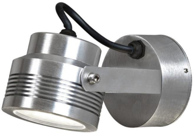 Afbeelding van Konstsmide Buitenlamp 'Monza' Wandspot 9,5cm, PowerLED 6 x 1W / 230V, kleur Aluminium