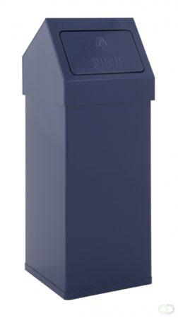 Afbeelding van Blauwe HygieneShopBasics Afvalbak Carro-Push 55 liter in roestvrijstaal of aluminium uitvoering inclusief deksel