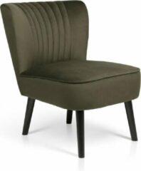 Lifa-Living LIFA LIVING Vintage Fauteuil, Fluweel en Houten Lounge stoel, Groen en Zwarte Woonkamerstoel, Moderne Stoel voor Woonkamer, Slaapkamer, Eetkamer, 58 x 70 x 72 cm