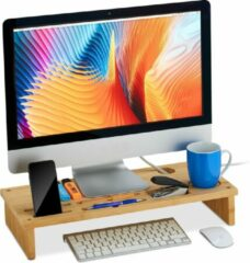 Bruine Relaxdays monitorstandaard bamboe - beeldschermverhoger breed - monitor verhoger bureau