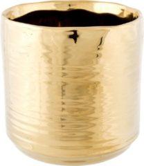 Goudkleurige Cosy @ Home 1x Gouden ronde plantenpotten/bloempotten Cerchio 13 cm keramiek - Plantenpot/bloempot metallic goud - Woonaccessoires