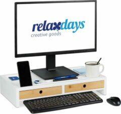 Witte Relaxdays Monitor standaard - organizer - beeldscherm standaard - schermverhoger - bamboe