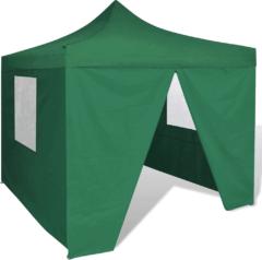 Groene Vidaxl partytent met 4 zijwanden inklapbaar 3x3 m groen