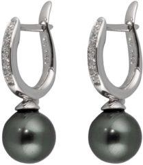 Classics Zilveren Oorbellen klapcreolen met zwarte parel 9 x 9 mm 107.5253.00