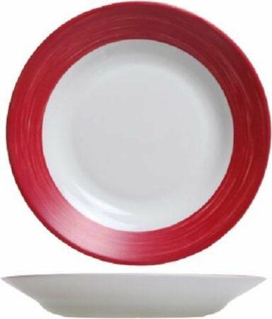 Afbeelding van Arcoroc Brush Servies - Diepe Borden - 22,5cm - Wit Rood - (set van 6) En Yourkitchen E-kookboek - Heerlijke Smulrecepten