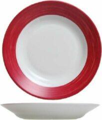 Arcoroc Brush Servies - Diepe Borden - 22,5cm - Wit Rood - (set van 6) En Yourkitchen E-kookboek - Heerlijke Smulrecepten