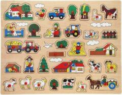 John Toys Houten knopjes/noppen puzzel boerderij thema 45 x 35 cm speelgoed