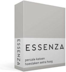 Zilveren Essenza Premium Percale Katoen Hoeslaken Extra Hoog - 100% Percale Katoen - 1-persoons (90x220 Cm) - Silver