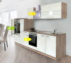 Respekta kitchen economy Respekta Küchenzeile KB300ESWCSE 300 cm Weiß-Eiche Sägerau Nachbildung