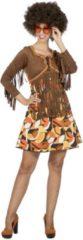 Bruine Wilbers Hippie Kostuum | Fraaie Franjes Jaren 60 Hippie Patty | Vrouw | Maat 38 | Carnaval kostuum | Verkleedkleding
