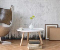 DeLife Wohnzimmertisch Alexej Weiss Beine Natur 78cm Bauhausstil