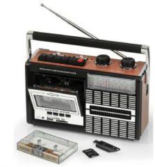 Bruine Ricatech PR85 draagbare retro radio/cassette speler