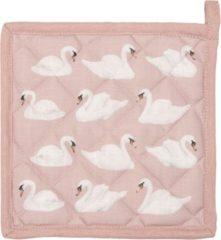 Roze Clayre & Eef | Pannenlap 20*20 cm | Pink | 50% Katoen / 50% polyester | vierkant | zwanen | KT045.033