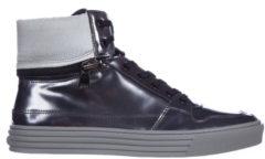 Grigio Hogan Rebel Scarpe sneakers alte uomo in pelle