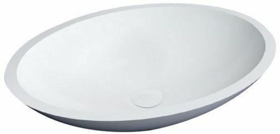 Afbeelding van Witte Best Design New Stone waskom 52x38cm met klikwaste Solid Surface hoogglans wit 3840250