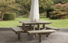 Van Talen Talen | Picknicktafel Vierkant | 195 x 195 cm | 45 mm dik