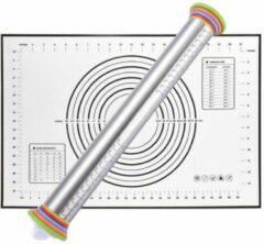Aluminum Verstelbare Deegroller - Inclusief Deegmat 60 x 40 cm - KELERINO. - Zwart