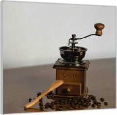 Bruine KuijsFotoprint Plexiglas –Oude Koffiemaler met Koffiebonen – 50x50 (Wanddecoratie op Plexiglas)