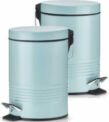 2x Mintgroene vuilnisbakken/pedaalemmers 3 liter van 17 x 25 cm - Zeller - Huishouding - Badkameraccessoires/benodigdheden - Toiletaccessoires/benodigdheden - Kleine prullenbakken