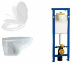 Adema Classic toiletset bestaande uit inbouwreservoir, softclose toiletzitting en Argos bedieningsplaat wit