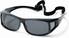 Polaroid Eyewear Polariserende Polaroid® Suncover XL Lichtgewicht Overzetzonnebril Zwart Grijze Lenzen Zonnebril