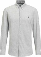 Licht-grijze WE Fashion Heren slim fit overhemd van piquéjersey - Maat S