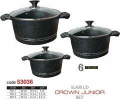 Zwarte Sonex Graniet/Marble Pannenset (Inductie geschikt)