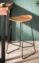 Beige Duverger® Ergonomic - Barstoelen - set van 4 - houten zit - ergonomisch - massief acacia - naturel - zwart metalen frame