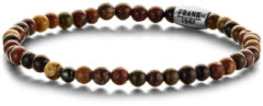 Frank 1967 Courageous Beads 7FB 0314 Natuurstenen Armband met Staal Element - Picasso 4 mm - Lengte 20 cm - Bruin / Multi