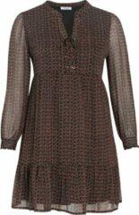 Paprika semi-transparante jurk met all over print en volant zwart/rood/olijfgroen