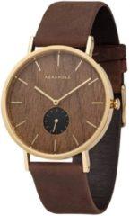 Kerbholz Fritz - Walnut Tobacco horloge dames en heren - bruin - edelstaal doublé