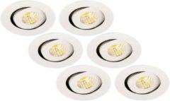 Groenovatie Inbouwspot LED 3W, Rond, Kantelbaar, Aluminium, Dimbaar, Zilver, 6-Pack